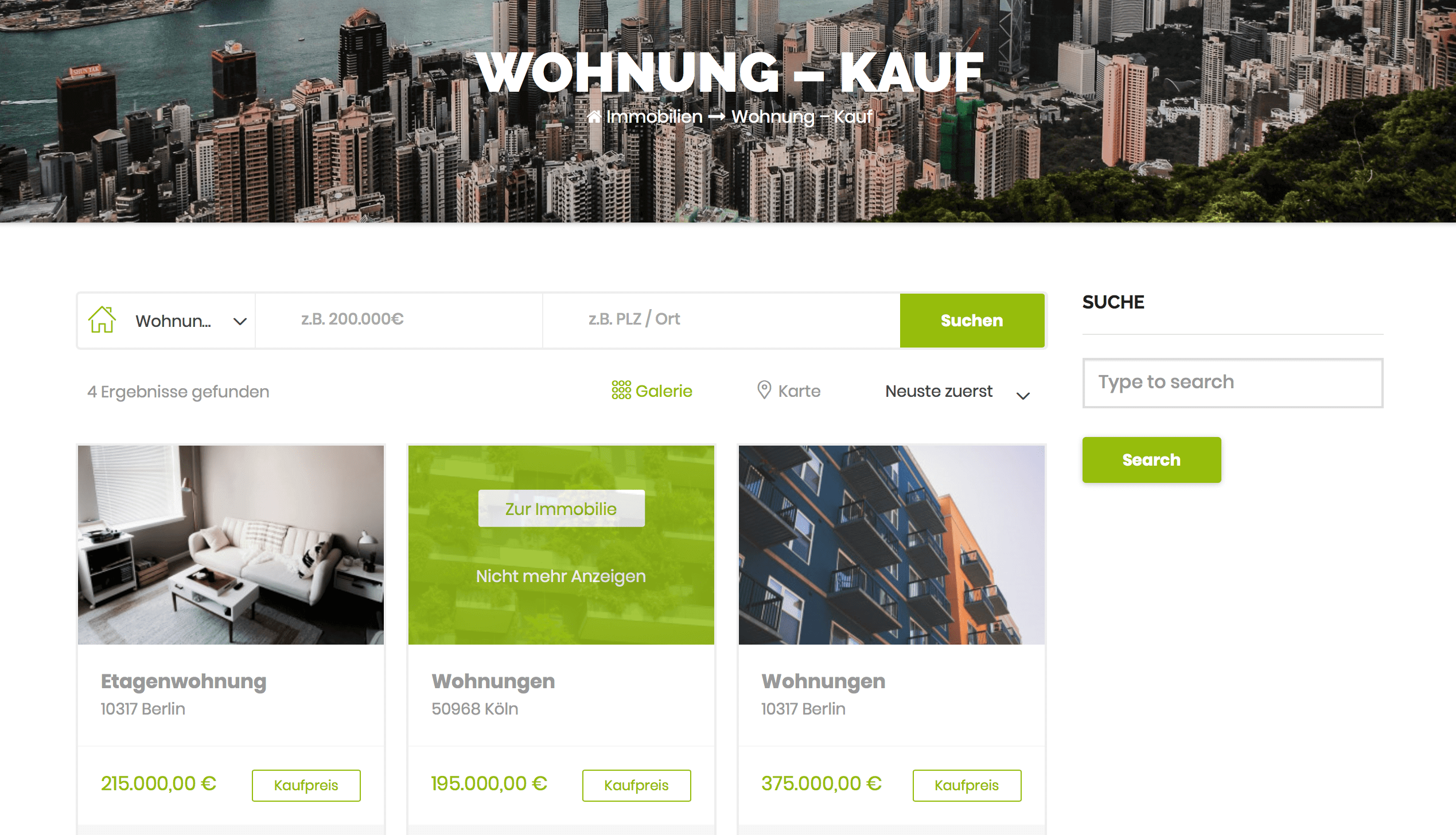 FLOWFACT Webseite Immobilienfenster